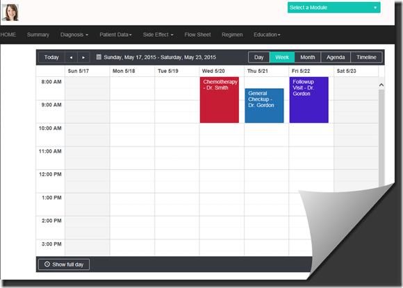 patient portal - calendar